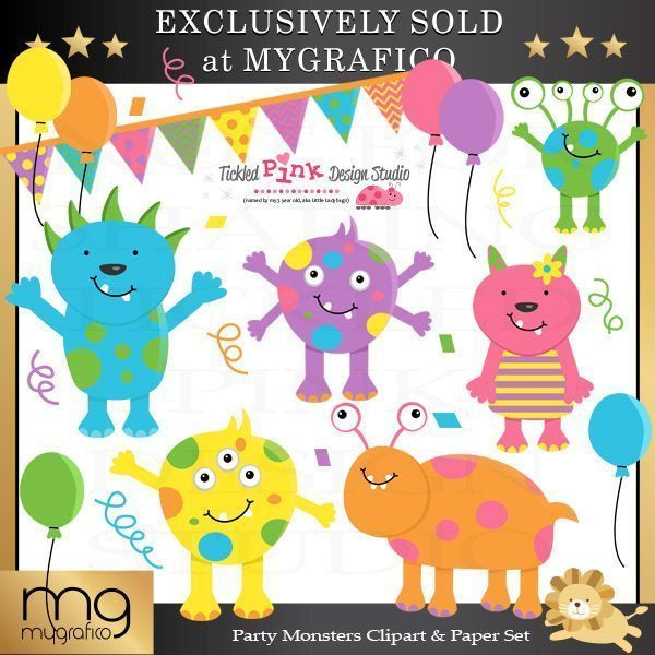 Party Monsters Clip Art & Paper Set  Tickled Pink Design Studio    Mygrafico