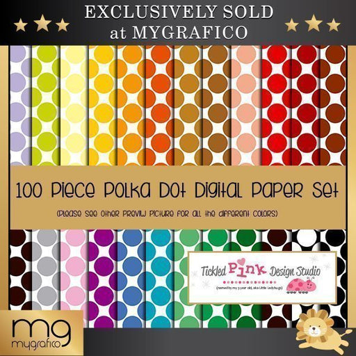 100 Piece Polka Dot Digital Paper Set Digital Papers & Background Tickled Pink Design Studio    Mygrafico