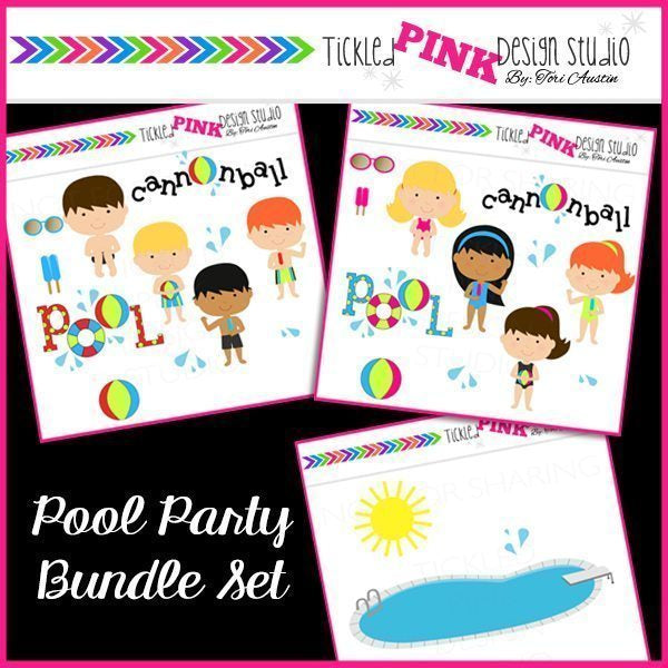 Pool Party Clipart Set  Tickled Pink Design Studio    Mygrafico