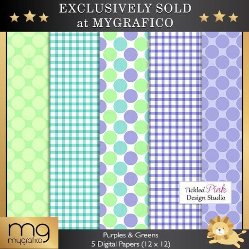 Purples and Greens Digital Papers  Tickled Pink Design Studio    Mygrafico