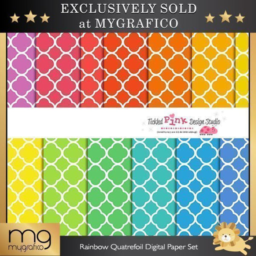 Rainbow Quatrefoil Digital Paper Set  Tickled Pink Design Studio    Mygrafico