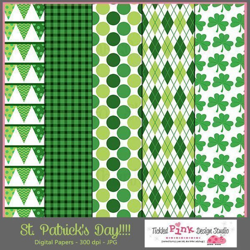 St. Patrick's Day Digital Paper Set  Tickled Pink Design Studio    Mygrafico