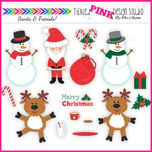 Santa And Friends Clip Art Set  Tickled Pink Design Studio    Mygrafico