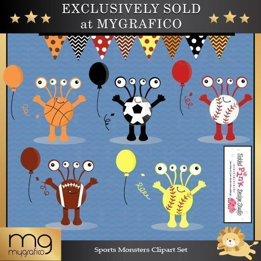 Sports Monsters Clipart Set  Tickled Pink Design Studio    Mygrafico