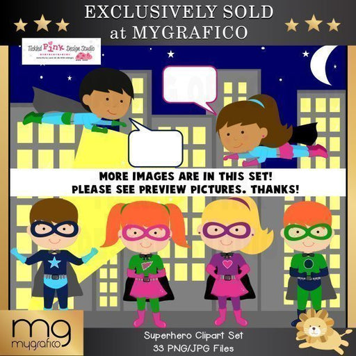 Superhero Clip Art Set  Tickled Pink Design Studio    Mygrafico