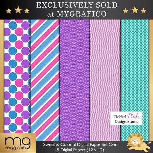 Sweet & Colorful Digital Paper Set One  Tickled Pink Design Studio    Mygrafico