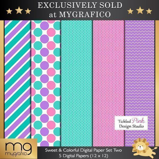 Sweet & Colorful Digital Paper Set Two  Tickled Pink Design Studio    Mygrafico