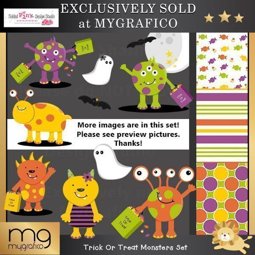 Trick Or Treat Monster Clip-art & Paper Set  Tickled Pink Design Studio    Mygrafico