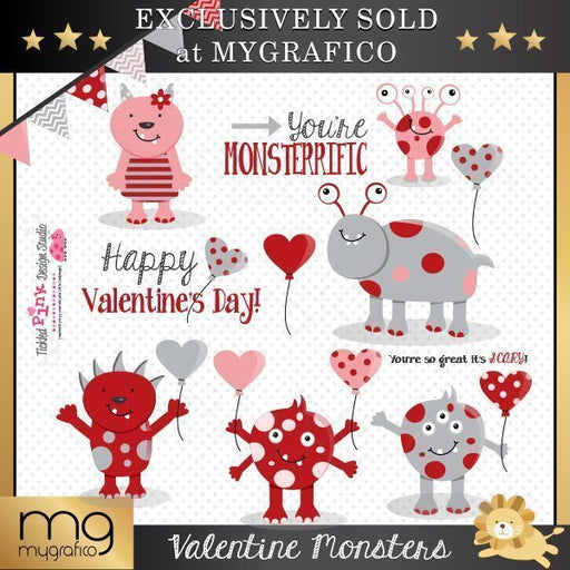 Valentine Monsters Clip-art Set  Tickled Pink Design Studio    Mygrafico