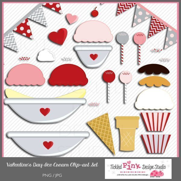 Valentine's Day Ice Cream Clip-art Set  Tickled Pink Design Studio    Mygrafico