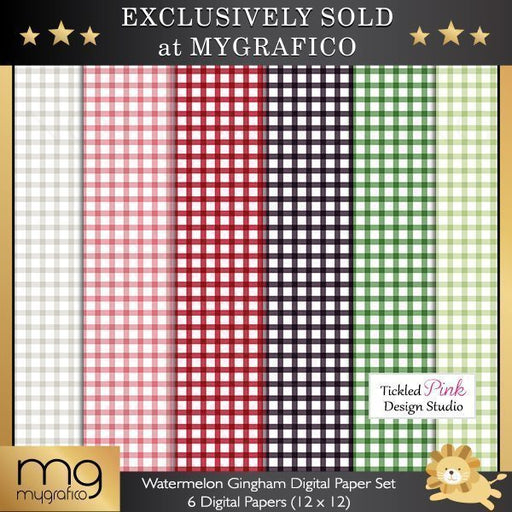 Watermelon Gingham Digital Paper Set  Tickled Pink Design Studio    Mygrafico