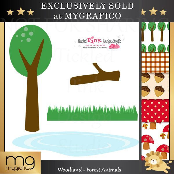 Woodland Forest Animal Clip Art Set  Tickled Pink Design Studio    Mygrafico