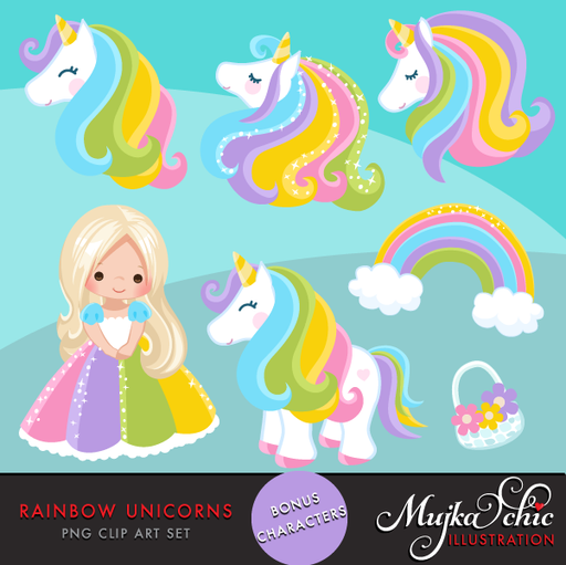 Unicorn Clipart Rainbow unicorns and little girls.