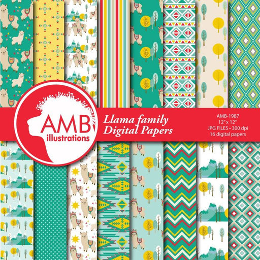 Llama Digital Papers, Llama digital backgrounds, Alpaca pattern papers, Alpaca digital papers for card making and crafts, Comm Use, AMB-1987 Digital Paper & Backgrounds AMBillustrations    Mygrafico