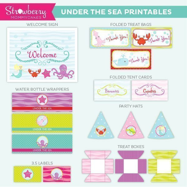 Blonde Under the Sea Party Printables Party Printable Templates Strawberry Mommycakes    Mygrafico