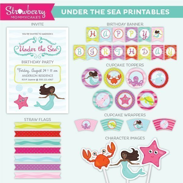African American Under the Sea Party Printables Party Printable Templates Strawberry Mommycakes    Mygrafico