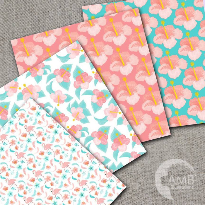 Flamingo Digital Papers, Floral Digital patterns, Shabby chic papers, Tropical Hibiscus Papers, Pink Flamingo Backgrounds, AMB-1043 Digital Paper & Backgrounds AMBillustrations    Mygrafico