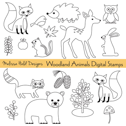 Woodland Animals Digital Stamps Melissa Held Designs Mygrafico