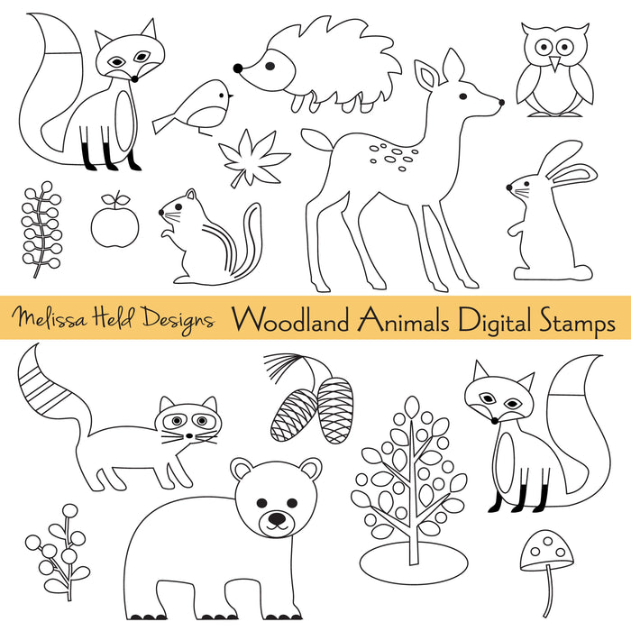 Woodland Animals Digital Stamps Digital Stamps Melissa Held Designs    Mygrafico