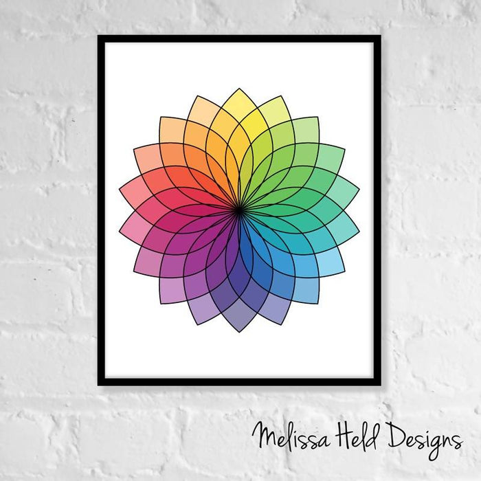 Color Wheel Flower Digital Wall Art Digital Paper & Backgrounds Melissa Held Designs    Mygrafico