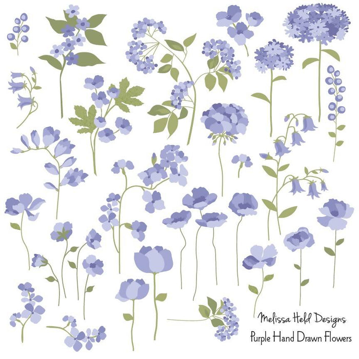 Purple Hand DrawnFlowers Clipart Cliparts Melissa Held Designs    Mygrafico