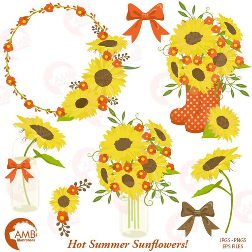 Sunflower clipart, Wedding clipart, sunflowers, country wedding, mason jar, AMB-1434 Cliparts AMBillustrations    Mygrafico