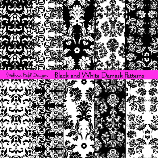 Black and White Damask Patterns Digital Paper & Backgrounds Melissa Held Designs    Mygrafico