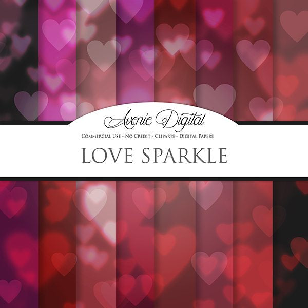 Heart bokeh Digital Paper  Avenie Digital    Mygrafico