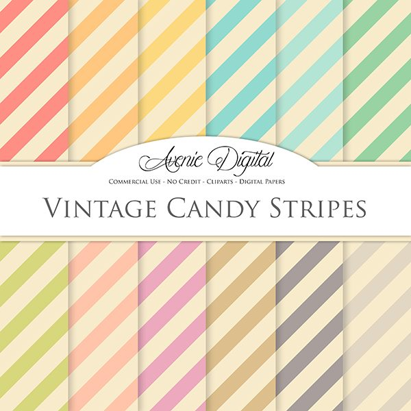 Vintage Candy Stripes Digital Paper  Avenie Digital    Mygrafico