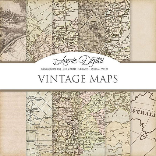 Vintage maps Digital Paper  Avenie Digital    Mygrafico