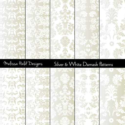 Silver Damask Patterns Digital Paper & Backgrounds Melissa Held Designs    Mygrafico
