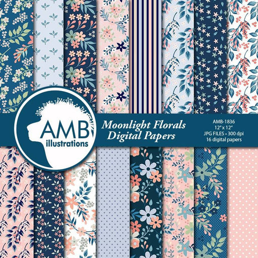 Floral papers, Shabby chic blue floral Digital Papers, Shabby Chic papers, Blue floral papers, scrapbook papers, flower paper, AMB-1836 Digital Paper & Backgrounds AMBillustrations    Mygrafico