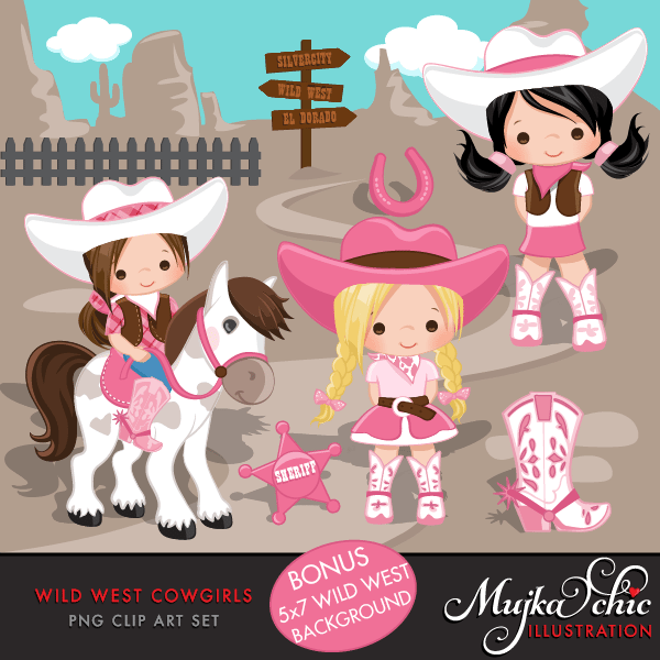 e17818083aa4f Wild West Cute Cowgirl Clipart- Pink   Brown Instant Download Western —  mygrafico