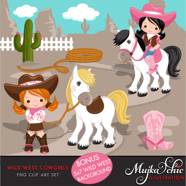 Wild West Cute Cowgirl Clipart- Pink & Brown Instant Download Western Graphics  Mujka Chic    Mygrafico