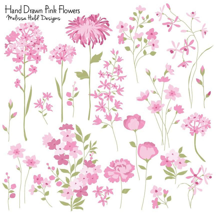 Hand Drawn Pink Flowers Clipart Cliparts Melissa Held Designs    Mygrafico
