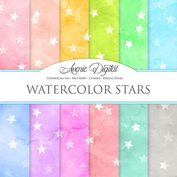 Watercolor Stars Digital Paper  Avenie Digital    Mygrafico