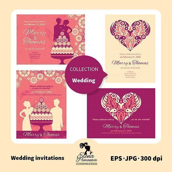 Beautiful wedding invitations  Elena Pimonova    Mygrafico