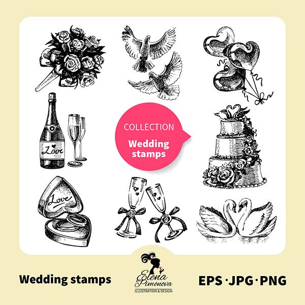 Hand drawn wedding stamps  Elena Pimonova    Mygrafico
