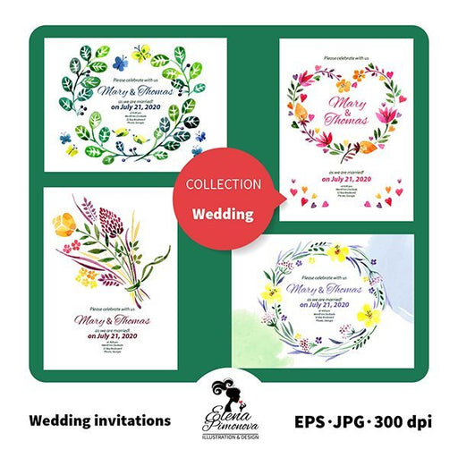 Watercolor Floral Wedding Invitations  Elena Pimonova    Mygrafico