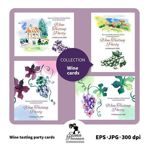 Watercolor Wine Tasting Party Invitation Templates  Elena Pimonova    Mygrafico
