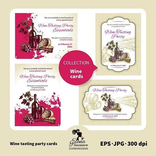 Wine Tasting Party cards  Elena Pimonova    Mygrafico