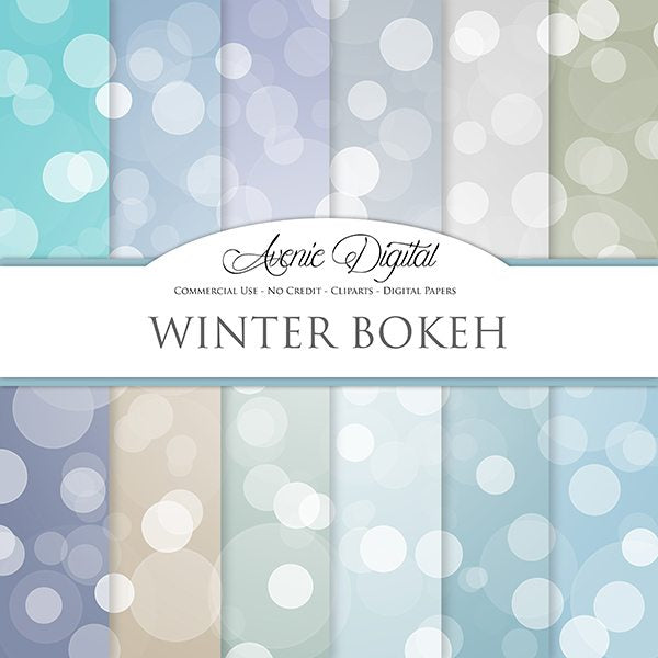 Winter Bokeh Digital Paper  Avenie Digital    Mygrafico