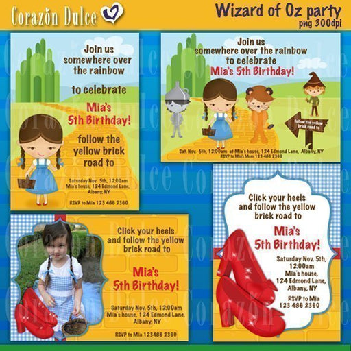 Wizard of Oz party Invitation templates