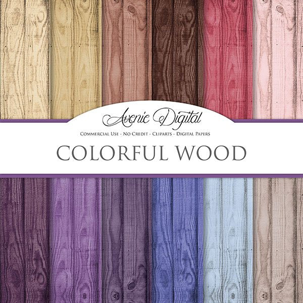 Colorful Wood Digital Paper  Avenie Digital    Mygrafico