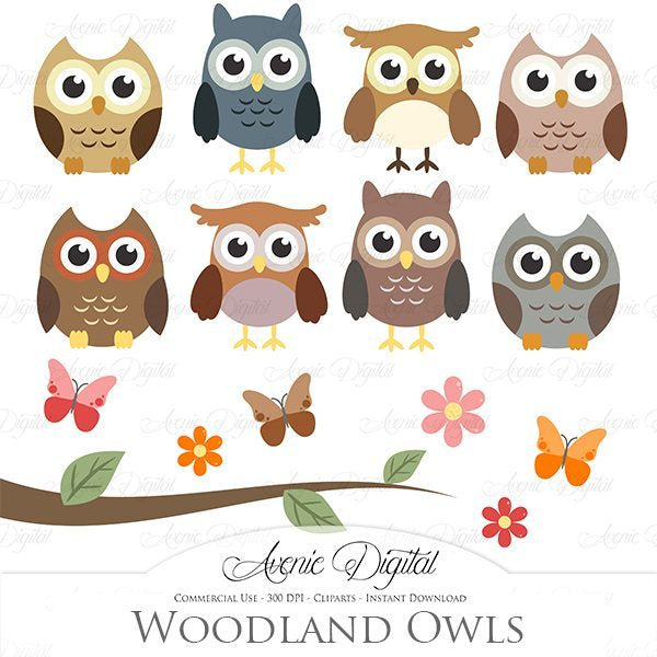 Woodland Owls Clip Art  Avenie Digital    Mygrafico