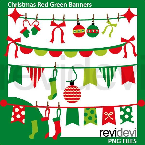 Christmas Pennant Banners Red Green