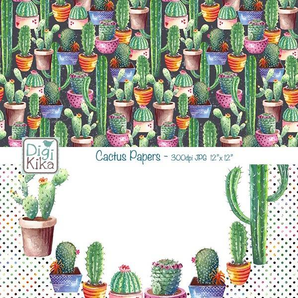 Cactus Digital Papers, Succulent Scrapbook Paper, Mint Cactus Papers, Succulent Pot Background, Watercolor, Planner Stickers Digital Paper & Backgrounds DigiKika    Mygrafico