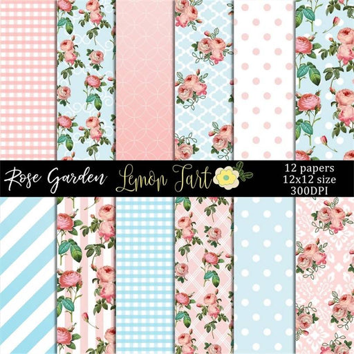 Rose Garden in pink Digital Paper & Backgrounds Lemon Tart    Mygrafico