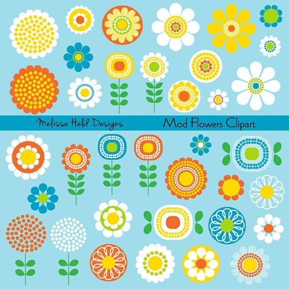 Mod Flowers Digital Clipart Cliparts Melissa Held Designs    Mygrafico