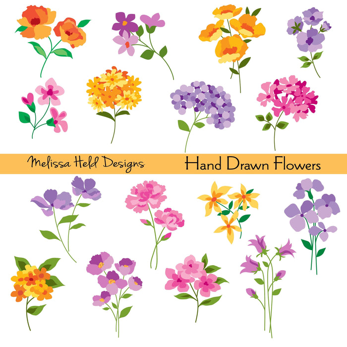 Hand Drawn Flowers Clipart Cliparts Melissa Held Designs    Mygrafico